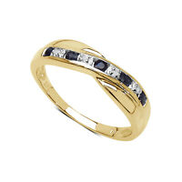 9CT GOLD SAPPHIRE & DIAMOND CHANNEL SET ETERNITY RING SIZE I-V ANNIVERSARY GIFT