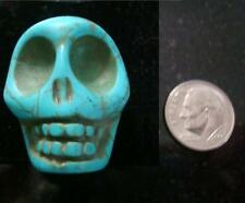 1 Huge turquoise howlite skull bead 30x30x24mm drilled top to bottom fpb171