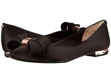 $185 TED  BAKER Black Satin BOW Pink Gold  Pointy Toe Fashion Flats SZ 7
