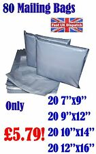80 Mixed Mailing Bags Strong Grey Plastic Poly Postal Envelopes Self Seal A14