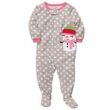 Girly Carter's Fleece Footed pajama Blanket Sleeper Sz 4 Kids Snowman Dot NWT