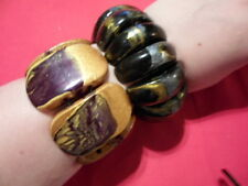 Artisan Crafted Yellow & Black Wooden Bracelets Set of 2 - Stretchable
