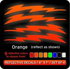 Lightning Bolts Reflective Decals Stickers / Orange