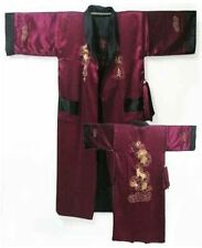Burgundy/Black Reversible Chinese Men's Silk Satin Embroider Kimono Robe Dragon