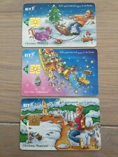 BT Christmas Phone card, set of 3, £2 Value, Used