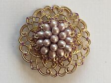 Vintage Brooch - 1940's Delicate Filigree Brooch with Faux Pearl Center