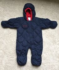 Columbia Snuggly Down Baby Bunting Snow Suit 24 months 2T Blue Red Fleece Lining