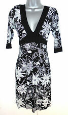 Stunning Jane Norman Black & White Floral Stretch Day Evening Dress Size 12