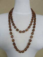 NWOT LONG BROWN & GOLD BEADS CHAIN BIB  NECKLACE FASHION CUTE