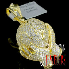 Mini 10k Yellow Gold Finish World Map Globe A+ CZ Pendant Charm For Necklace New