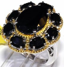 Thai Black Spinel Ring 14K YG Platinum Overl Sterling Silver (Size 10) 14.1 Cts