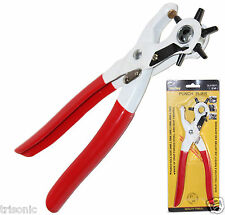 New LEATHER HOLE PUNCH w/ Coating Hand Pliers Punch Belt Holes Rubber Hand Tool