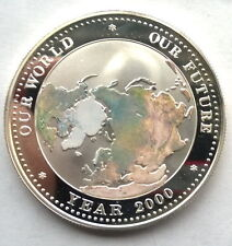 Palau 2000 World Map 5 Dollars Colour Coin,Proof