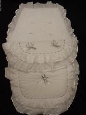 BEAUTIFUL. PRAM  COSYTOES  / FOOTMUFF  COLOUR  WHITE  /  SILVER  BOWS