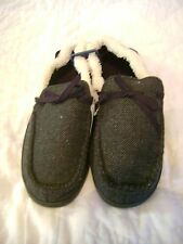NWT URBAN PIPELINE Moccasin Slippers Shoes Black Chevron Mens Size Large 10-11