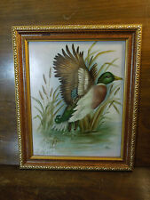 Framed Painted Ceramic Tile of a Mallard Duck By Jayn Collinge