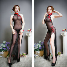 Soft lace Underwear China Cheongsam Robe Sexy Retro Night Gown Lingerie Babydoll