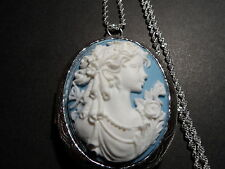 CAMEO LOCKET GRECIAN WOMAN WITH A BUTTERFLY BLUE WHITE