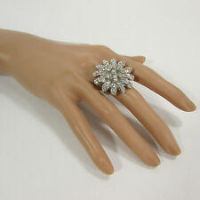 New women silver metal fashion ring adjustable band size big flower rhinestone