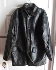 Reportage RGA Italy Buttery Soft Vegan Faux Black Leather Car Coat Jacket Mens L