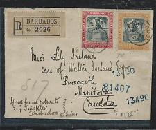 BARBADOS (PP2912B) 1906 NELSON 1D+2D REG TO CANADA