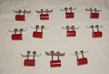 11 Vtg Cabinet Drawer Handle Pull Hardware Red Chunky Cylinder Bakelite Art Deco