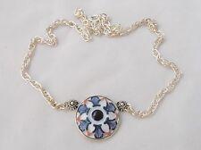 Sargadelos Porcelain & Sterling Silver Redonda Blue  Flower Necklace - NEW