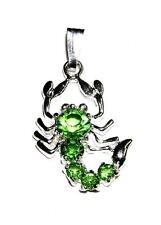 PENDANT/NECKLACE Lime Green Rhinestones Scorpio Zodiac SCORPION