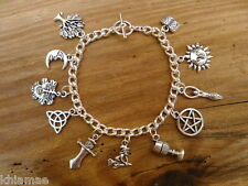 Wiccan Chunky Charm Bracelet - pentacle goddess green man pagan jewellery silver