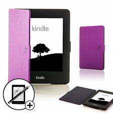 Leather Purple Smart Case for Amazon Kindle Paperwhite 2015 + Screen Prot Stylus