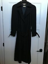 Vintage LADY'S TRENCH COAT Black Sanyo Size 10 Made In Japan VERY NICE PIECE