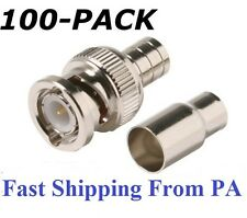 100 Crimp on BNC Male RG59 Coax Coaxial Connector Adapter For CCTV camera