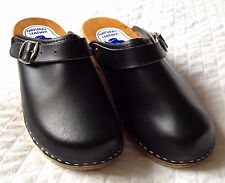 Women's Damaged Wooden Leather Black Clogs With Buckle Slip Resistant Size 8.5