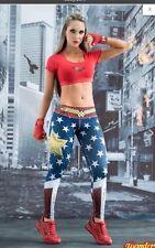 NEW!! FIBER Wonder  Woman Athletic Apparel spandex Leggings Gym New yoga