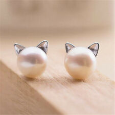 Cute 925 Silver Korea Chic Pearl Cat Kitten Head Stud Fashion Earrings