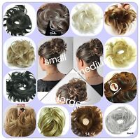 SYNTHETIC  HAIR SCRUNCHIES FOR BUN OR PONYTAIL SIZES SMALL MEDIUM LARGE