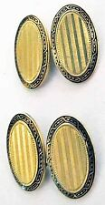 14K GOLD+Black ENAMEL CuffLinks~c 1915~WAB~Wordley, Allsopp & Bliss~2-Sided~FINE