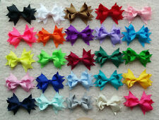 "25 PCS 3.5"" Baby Girl  kds Boutique Hair Bows Clip Grosgrain Ribbon Flower A"
