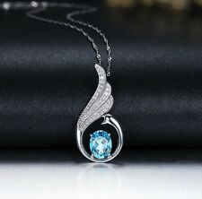 "Silver Swarovski Element Crystal Peacock Dance Pendant Necklace 18"" Chain Box S2"
