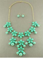 MINT FLOWER GOLD BAUBLE BUBBLE CHUNKY NECKLACE EARRING SET