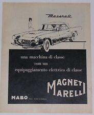Advert Pubblicità 1962 MASERATI 3500 GTI - MAGNETI MARELLI