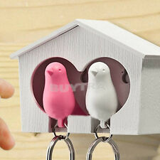 Couple Sparrow House Whistle Keychain Keyfob, Bird Keyring, Family Key HolderFSD
