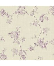Wallpaper Designer French Lavender Rose Floral Vine Toile on Beige Faux Linen