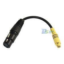 3Pin XLR Female to Single Phono RCA Female Coaxial Shield Cable Gold Plated 20cm