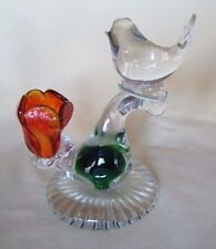 Hand blown glass Bird & Flower figurine - Beautiful colored glass flower petals