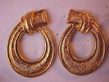 Gold Loop Earrings Ribbon Knot Etched Pierced 1-1/4""