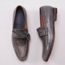 NIB $695 SANTONI Antiqued Blue-Brown Calf Leather Loafers US 8.5 D Dress Shoes