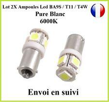 2X Ampoule T11 BA9S T4W 5 LED 12V 6000K Blanc Pure Veilleuse Lampe Xenon
