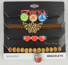 New Nintendo The Legend Of Zelda Icons 4 Pack Arm Party Cord Bracelet Set Charms