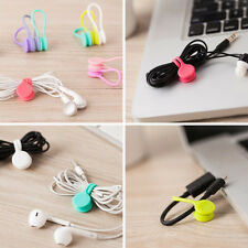 Headphone Earphone Earbud Silicone Cable Cord Wrap Winder Organizer Holder